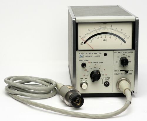 HP / Keysight 432A Analog Power Meter with HP 8478B Thermistor Mount & Cable