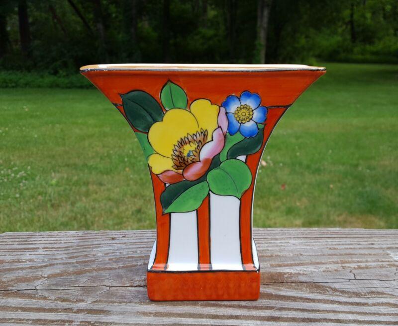 "VINTAGE TA Fan Vase Orange Floral Made In Japan 5"" Tashiro Shoten Lusterware"