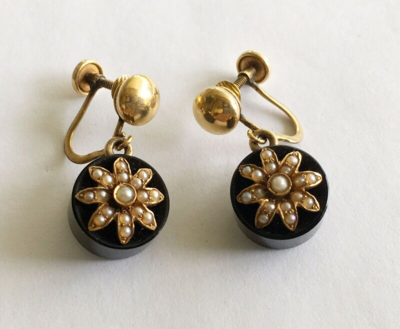 Antique Victorian 14k Black Onyx Earrings With Pearls