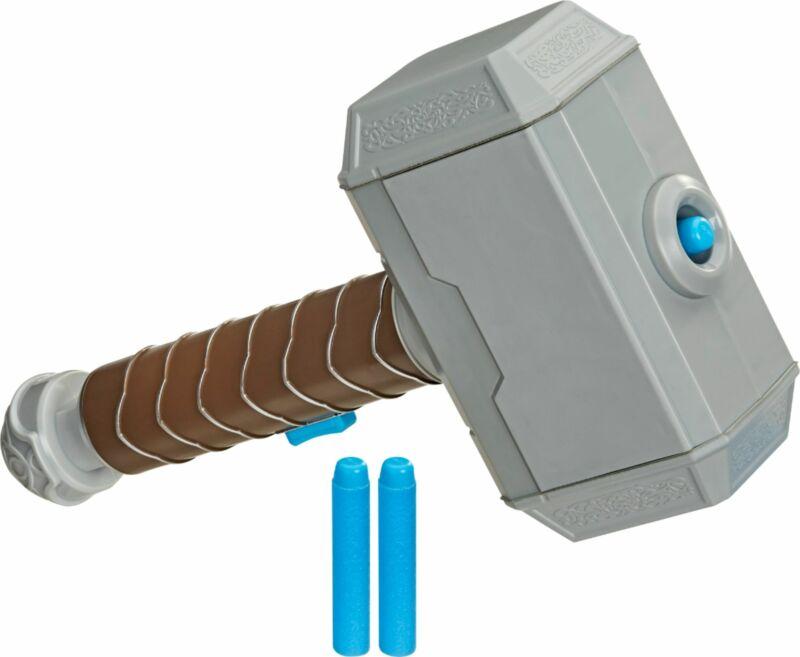 Nerf - Power Moves Marvel Avengers Thor Hammer Strike Dart-Launching Toy