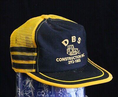 Vintage MADE IN USA 3 STRIPE Trucker Hat Snapback Cap Mesh DBS Construction