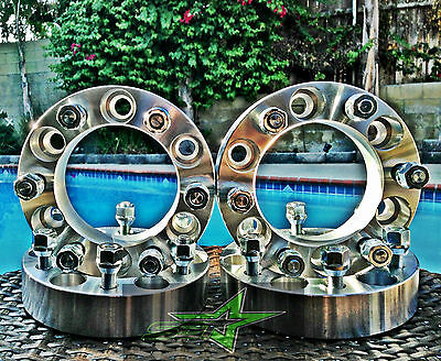 4 CHEVY GMC CADILLAC WHEEL SPACERS 6X5.5 | 2 INCH, 50MM | FITS MOST 6 LUG 14X1.5