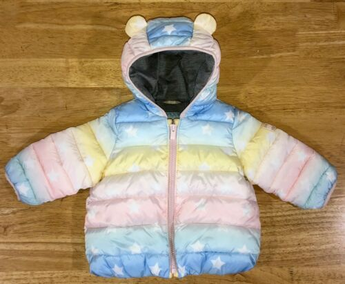 Baby Girl 12-18 Month Baby Gap Rainbow Star Print Bear Ears Winter Puffer Coat