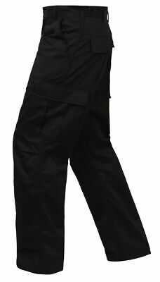 ROTHCO 2971 RELAXED FIT ZIPPER FLY TACTICAL MENS BLACK BDU PANTS SECUIRTY S-5X
