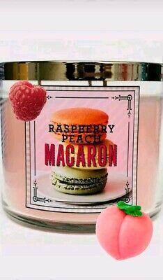 Bath & Body Works RASPBERRY PEACH MACARON 3 Wick Candle Cookie, Almond (Almond Raspberry Cookies)
