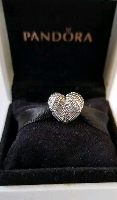 9515827e2 AUTHENTIC PANDORA ANGELIC FEATHERS HEART 791751 ANGEL WINGS CHARM
