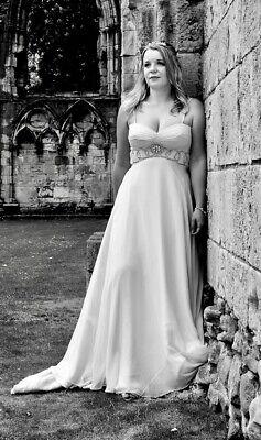 JENNY PACKHAM Edie Chiffon Silk Diamante Wedding Dress Empire Gown Size 12
