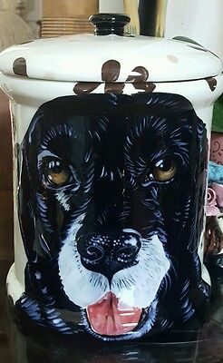 Custom Ceramic DOG TREAT Cookie Jar black lab Labrador urn any BREED large