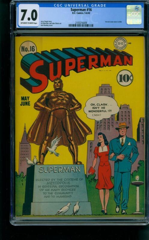 Superman #16 [1942] Certified 7.0 CLASSIC WW II COVER