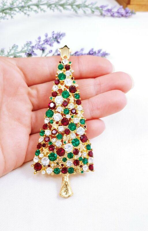"(W) vintage Large 3 7/8"" Rhinestone CHRISTMAS TREE BROOCH PIN GOLD Rockefeller"