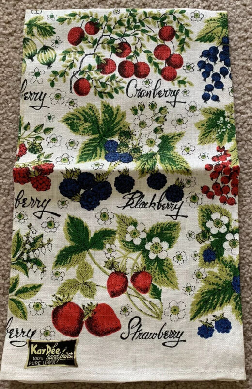 Vintage Kay Dee Handprints Berries Linen Kitchen Towel New With Tag Lois Long