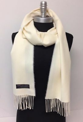 New Women's 100% CASHMERE SCARF Wrap MADE IN SCOTLAND SOLID Cream SUPER SOFT