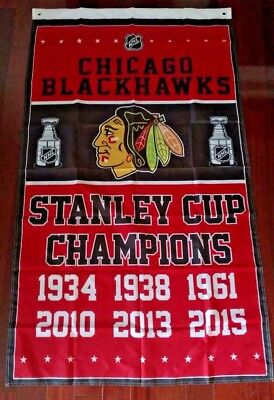 Chicago Blackhawks Stanley Cup Champions Flag 3Ft X 5Ft Polyester Nhl Banner