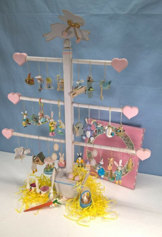 Vintage Unique Easter tree with 63 ornaments, very nice, from the early 1980