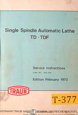 Traub Td And Tdf Series Automatic Lathe Service Manual 1973