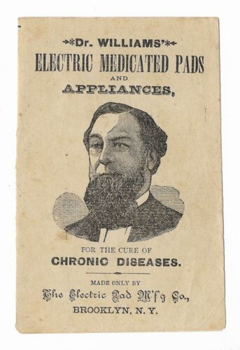 Antique DR WILLIAMS ELECTRIC MEDICATED PADS Quack Medicine Pamphlet BROOKLYN NY