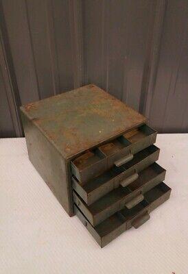 Vintage 4 Drawer Small Metal Filing Cabinet For Storage