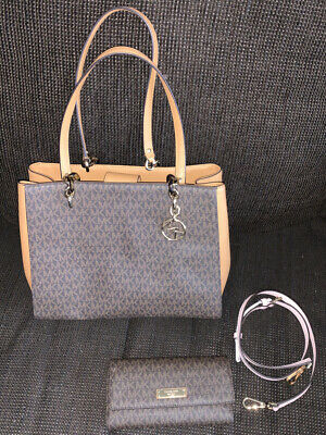 Michael Kors Purse & Wallet Set Sofia Large Chain Tote Brown Authentic Handbag