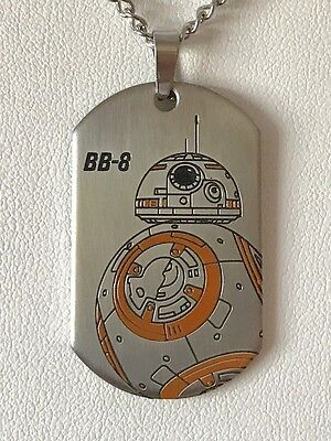 Star Wars Jewelry Episode 7 Bb8 Laser Etched Dog Tag Pendant Necklace, 22""
