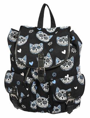 Banned Sugar Skull Kitty Cat Gothic Backpack School Bag Tatoo Biker - Sugar Skull Tatoo