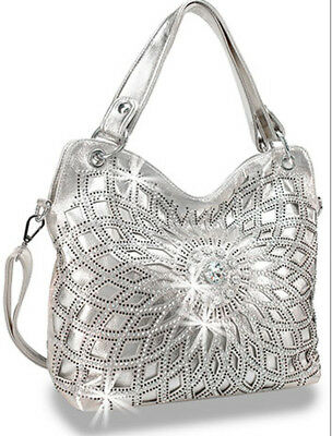 Zzfab Double Handles Starburst Bling Purse Silver