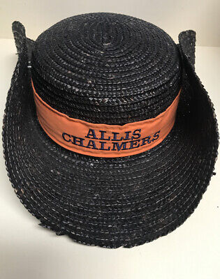 Vintage Allis Chalmers Logo Tractor Straw Farmers Hat With Band