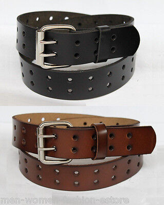 New Mens 2 Double Holes Dress Casual Leather Belt 2Prong Roller Removable (2 Mens Dress Belts)