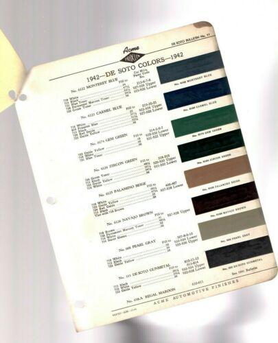 1942 DeSOTO Color Chip Paint Sample Brochure / Chart:  De Soto
