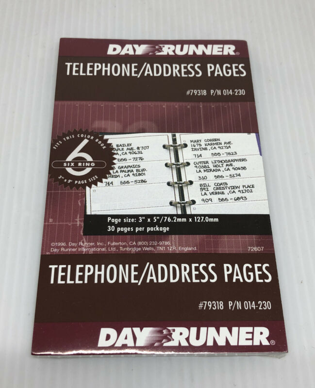 Day Runner #79318 Telephone/Address Pages fits 6 ring, 30 pages 3 x 5