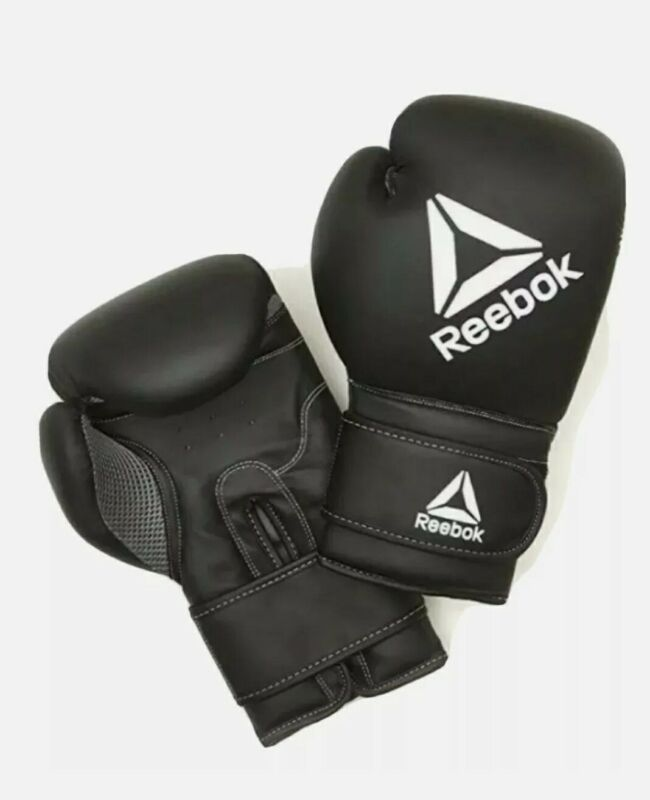 Reebok Adult 16oz Boxing Gloves- Black Padded Punch Sparring MMA Training