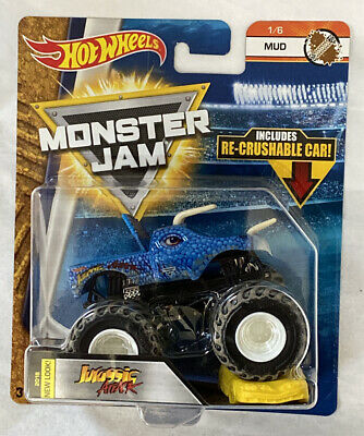 Hot Wheels Monster Jam Truck 1/64 Diecast Blue Jurassic Attack Mud
