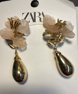 New ZARA GOLD PINK FLOWER THEME EARRINGS FAUX PEARL F11 RE: 4548 205 303