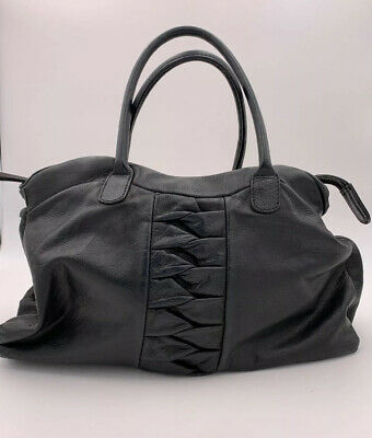 Falorni Italia Le Borse Italy Black Leather Handbag Braided Detail