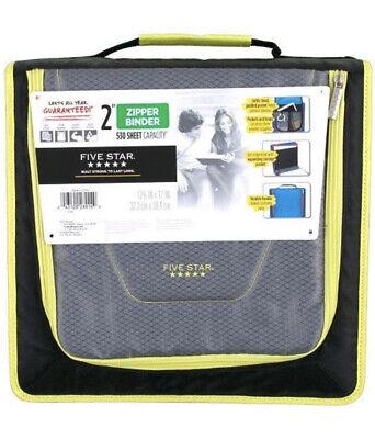 Five Star 2 Inch Zipper Binder Tech Pocket Durable Blue Orange Black Grn New