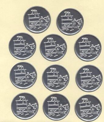 """11 Stück Zinn - Embleme """" Feuerwehr - Wettkampf """" für Pokale od. Medaillen 5 cm"""
