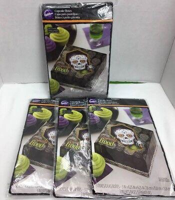 Wilton Halloween Cupcake Boxes (Wilton 4 PACK Lot of Cupcake Boxes Skull Halloween Dead 12 Box Total)