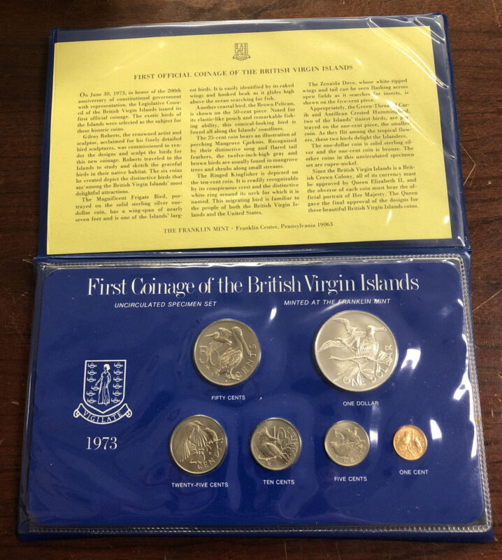 1973 First Coinage Of British Virgin Islands 6 Coin Set
