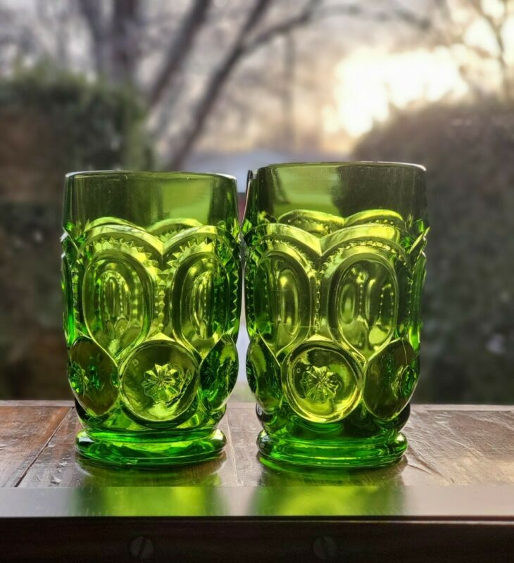 Set of 2 L.E. Smith Moon and Stars  Green Tumblers