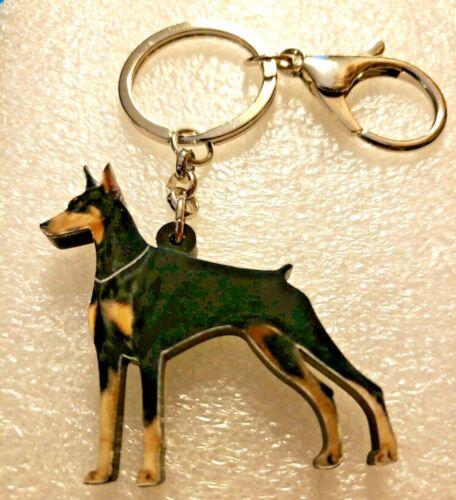 Doberman Realistic Dog Acrylic Key Ring Keychain Jewelry
