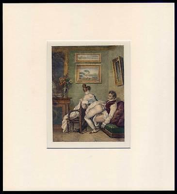 Erotik-Sex-Biedermeier - Lithographie von Achille Devéria um 1835