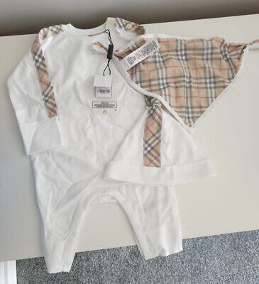 Burberry Baby Grow, Hat And Bib Set 100% Genuine *Brand New With Labels And Box*