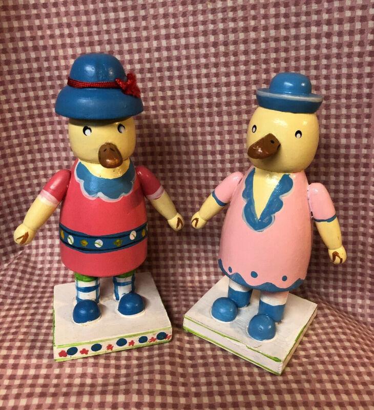 "RARE Set of 2 Vintage Wood Hand Paint EASTER LADY DUCK FIGURE 7"""