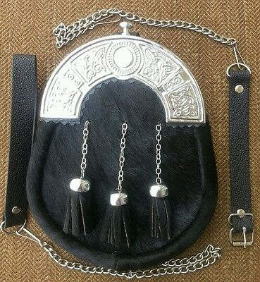 Original Black Cowhide Fur Scottish Kilt Sporran, Free Leather & Metal Belt