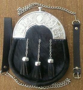 Original Black Cowhide Furr Scottish Kilt Sporran, Free Leather & Metal Belt