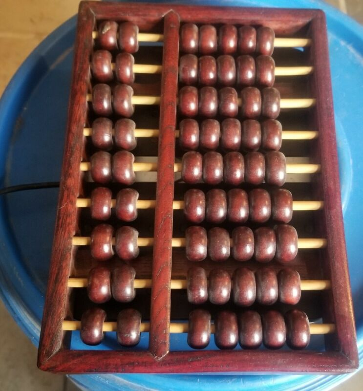 """Vintage 6-1/2""""x 9-1/2"""" Wooden Abacus 9 Rods 63 Beads"""