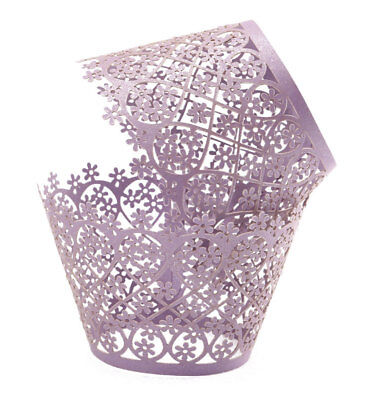 12 Purple / Lavender Lace cupcake liners wrappers Fits Standard Cupcake Wrappers