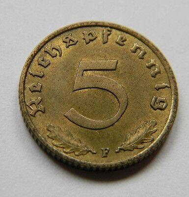 DRITTES REICH: 5 Reichspfennig 1938 F, J. 363, vorzüglich/prägefrisch !!!