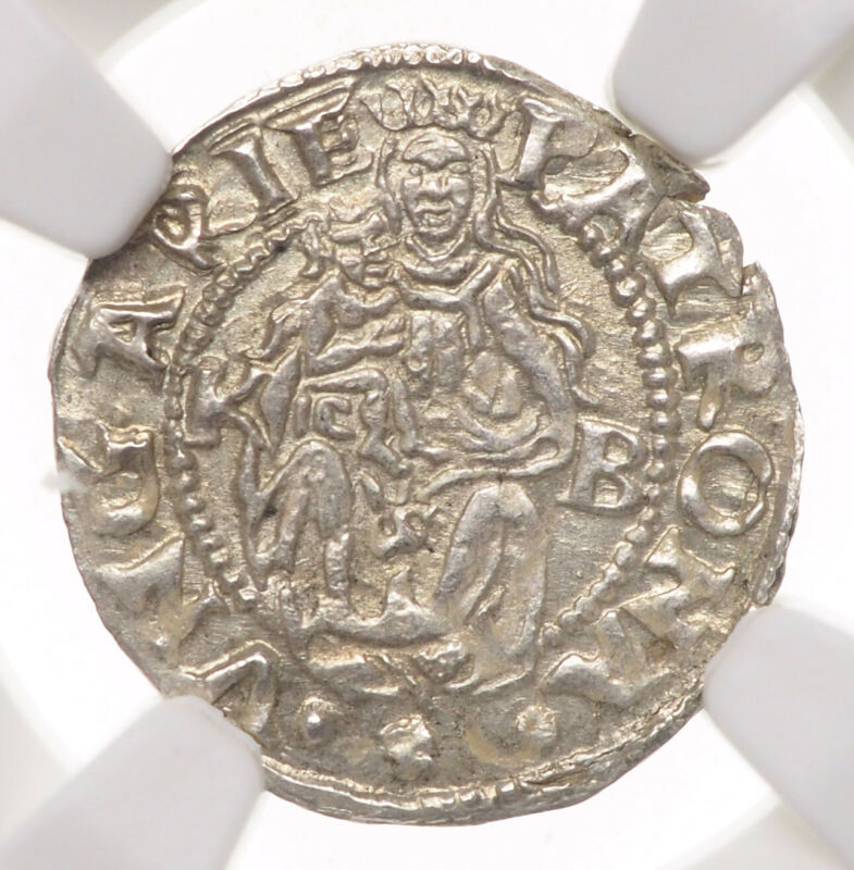 HUNGARY. Ferdinand I Silver Denar, 1555-KB, NGC MS64