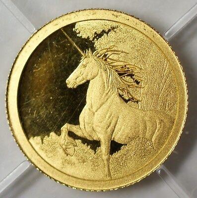 2014 Tokelau $5 Dollars Gem Proof Gold 0.5 Gram Unicorn Myth Legend Coin COA