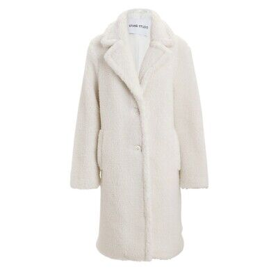 STAND Studio Lisen Faux Shearling Teddy Coat Small FR 36 Ivory Cream Tan Beige